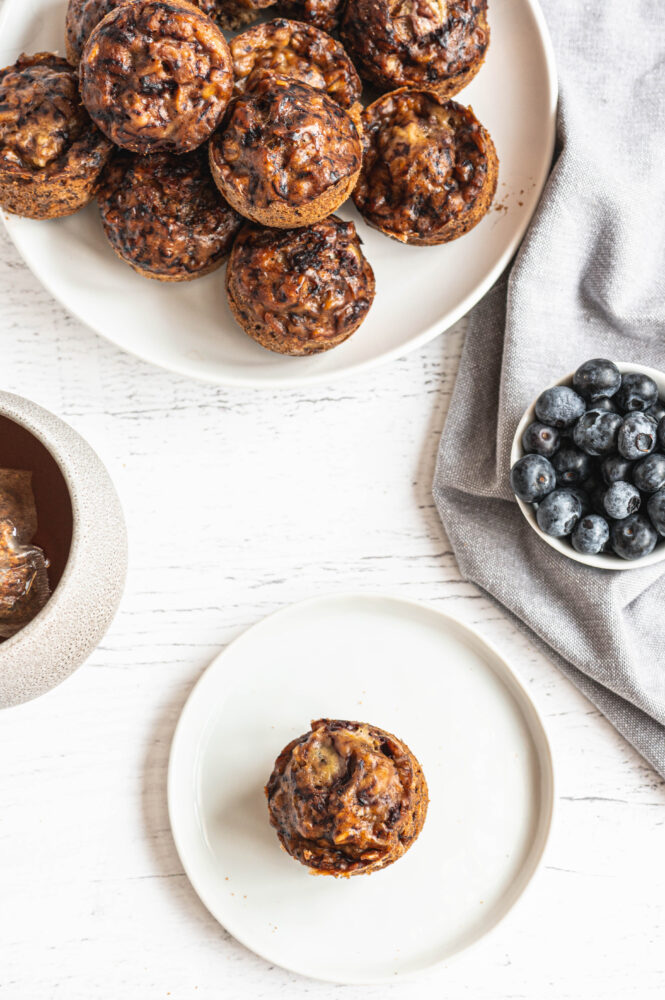 top view of banana blueberry muffins from the instant pot