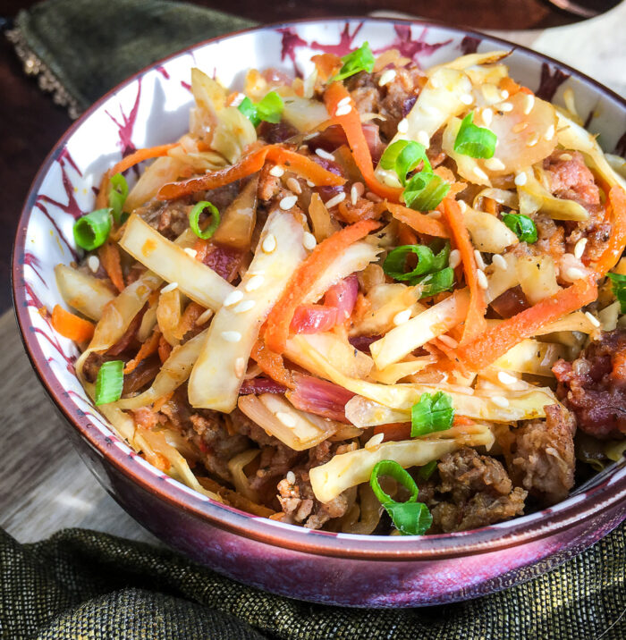 close up of weight watchers egg roll in a bowl