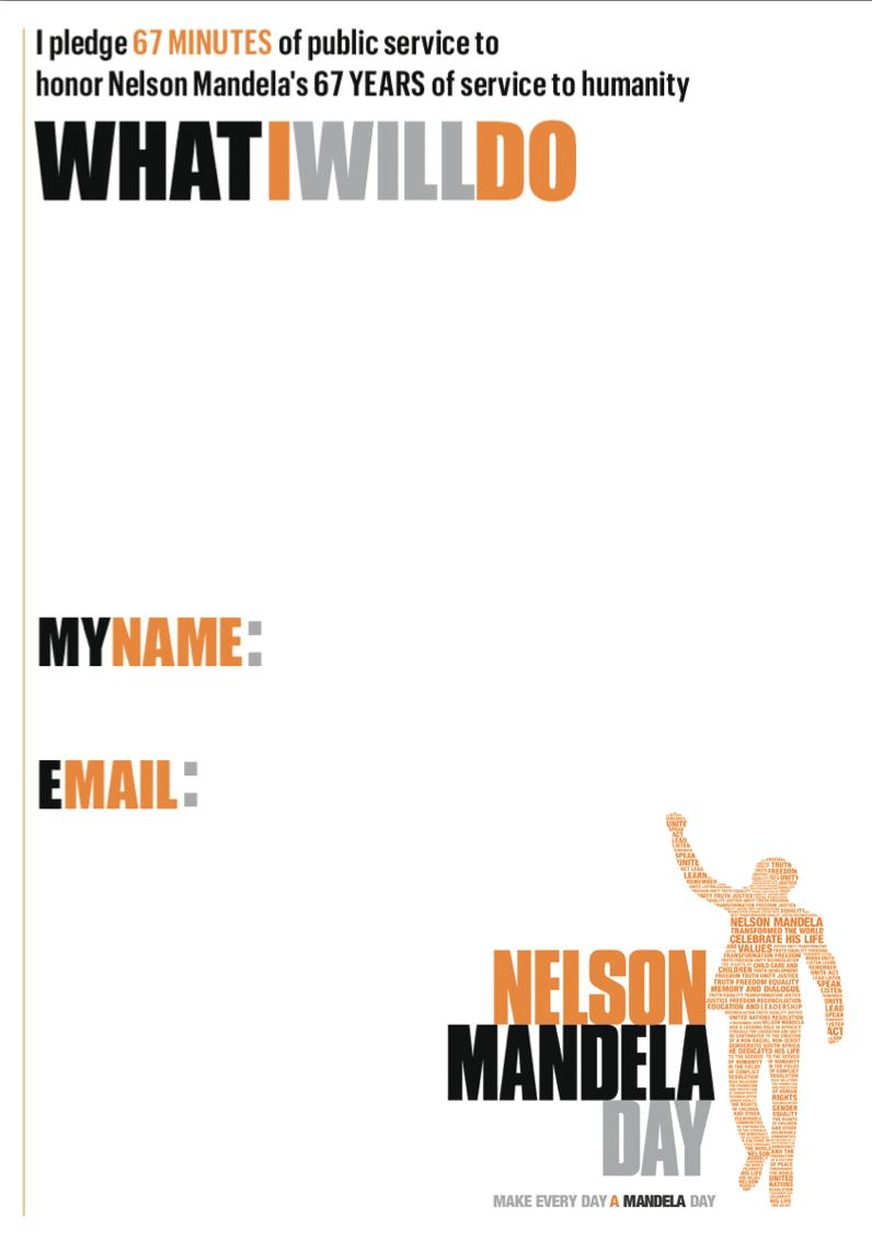 Mandela Day Pledge Form