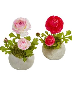 Nearly Natural 1778-S2-BW Ranunculus Artificial Arrangement (Set of 2)