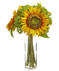 "Nearly Natural 1780 12"" Sunflower Artificial Arrangement in Vase"