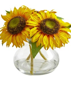 Nearly Natural 1796 Sunflower Artificial Arrangement in Glass Vase