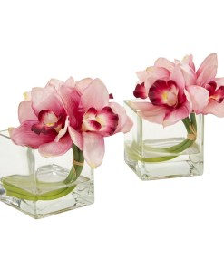Nearly Natural 1824-S2-PK Cymbidium Orchid Artificial Arrangement in Glass Vase (Set of 2)