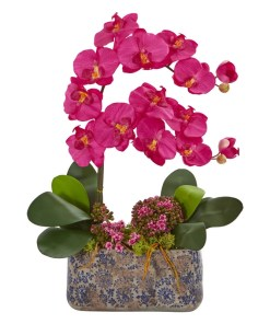 Nearly Natural 1867-BU Phalaenopsis Orchid Artificial Arrangement in Ceramic Vase