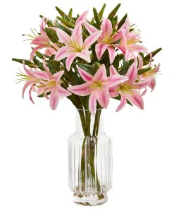Nearly Natural 1868-PK Lilly Artificial Arrangement in Glass Vase