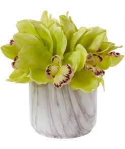 Nearly Natural 1877-GR Cymbidium Orchid Artificial Arrangement in Marble Vase