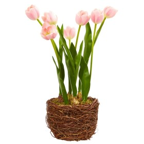 Nearly Natural 4289 Tulip Artificial Arrangement in Twig Vase