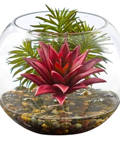 Nearly Natural 8589 Mixed Succulent Artificial Plant in Round Glass Vase