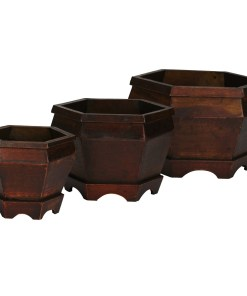 Nearly Natural 0507 Wooden Hexagon Decorative Planter