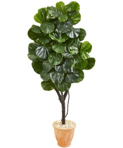 """Nearly Natural 9412 65"""" Fiddle Leaf Fig Artificial Tree in Terra Cotta Planter"""