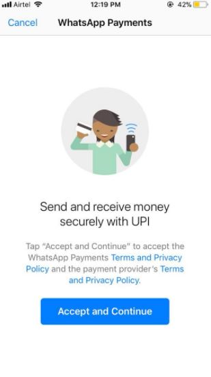Terms & Conditions Window On The WhatsApp Payments Feature.