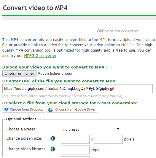 Online Tool gif to video converter