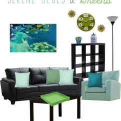 Living Room Color Schemes Black Leather Couch Table Set Big Lots Decorating Around A Slashed Beauty Blue And Green Scheme