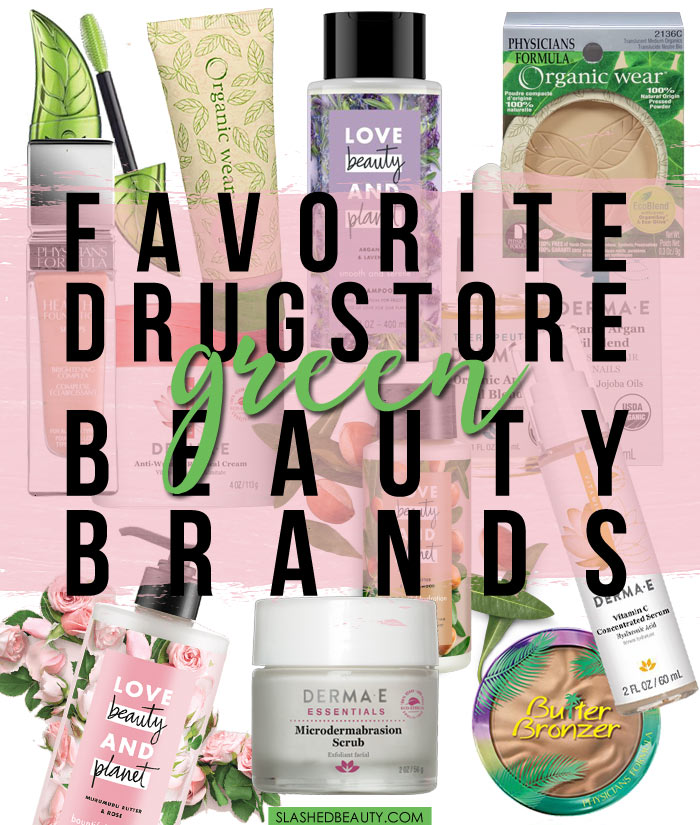 Looking to add natural beauty products to your routine? Check out these budget-friendly drugstore green beauty brands. | Slashed Beauty