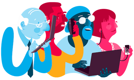 Illustration depicting a colorful group of people using an array of mobile devices