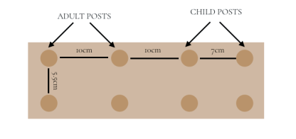 drawing of the welly stand detailing the distances between the posts along the length and width of the solid oak base