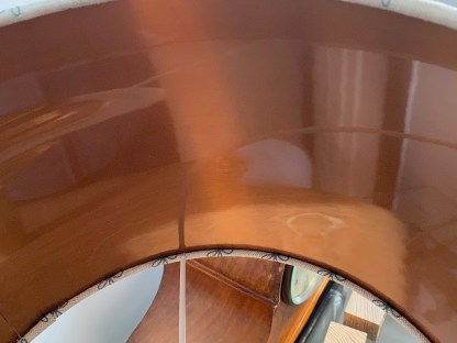 close up of the brushed copper lining on a drum lampshade