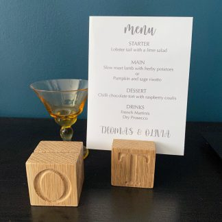 solid oak 4cm square place card holder with slot in the top for a card