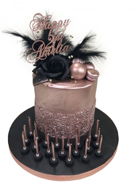 Rose Gold Sequin Cake