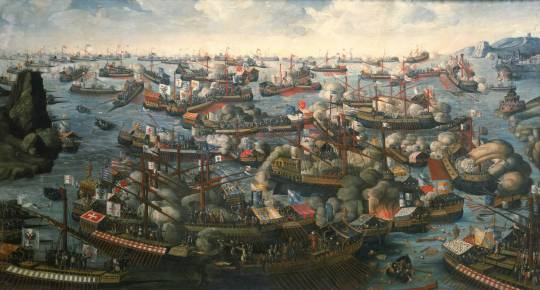 Allied Christian naval forces fighting against the Ottoman fleet at Lepanto, 1571