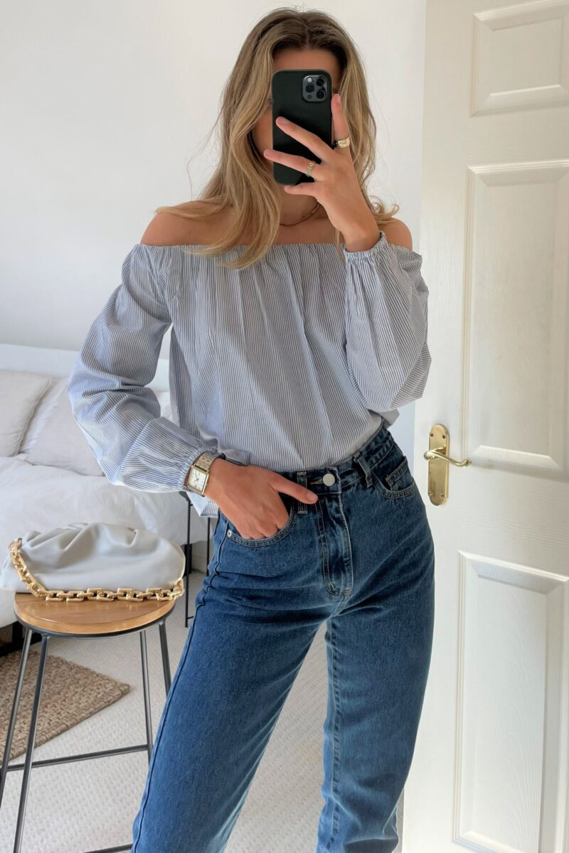 Lottie Cotton Stripe Bardot Blouse