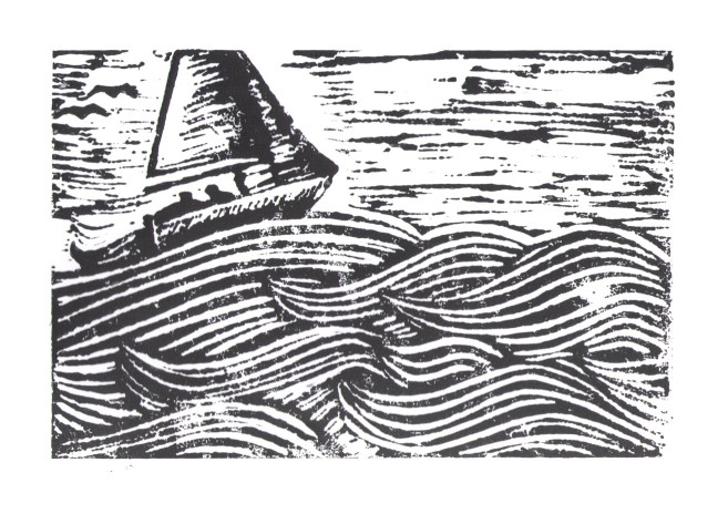 slbradley sailboat linocut