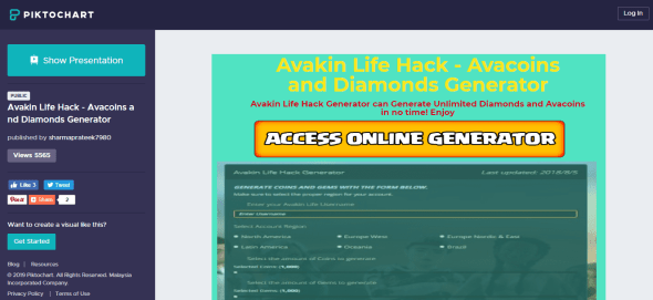 Piktochart with avakin life / Avacoins and diamonds generator