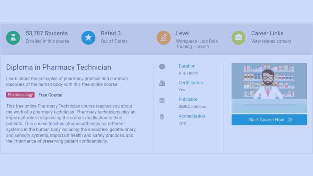 Alison Diploma in Pharmacy Technician 2021