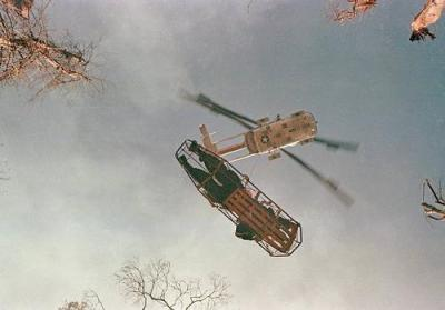 Helicopter Lifts A Wounded American Soldier