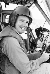 Pilot Officer Michael Haxell at the Controls of an Iroquois