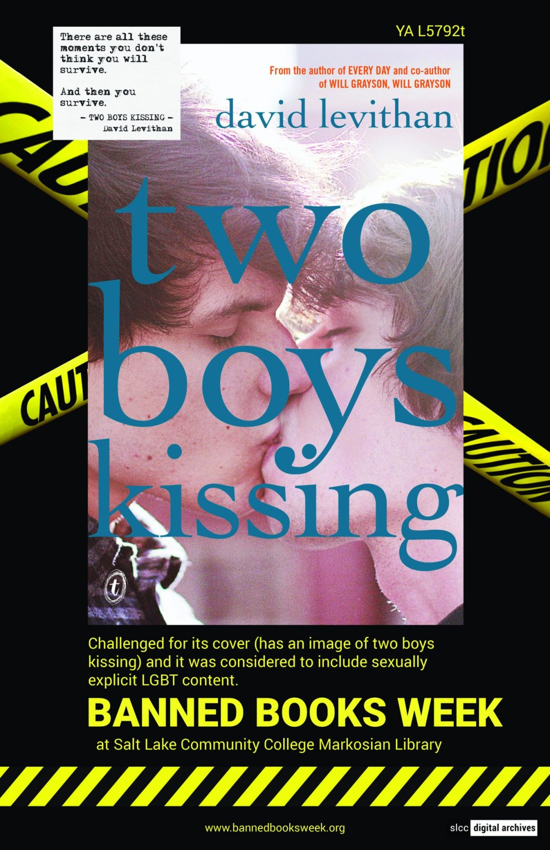 Banned Books Week Poster: Boys Kissing written by David Levithan