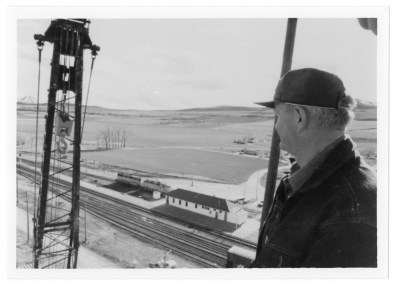 Cache Junction Railroad Station view from the water tower, 1970s