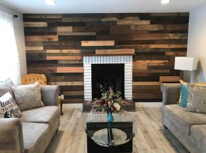 DIY fireplace pallet wall