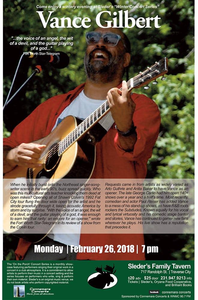 Vance Gilbert Concert @SledersTavern On the Porch 2/26/18, 7 pm ET