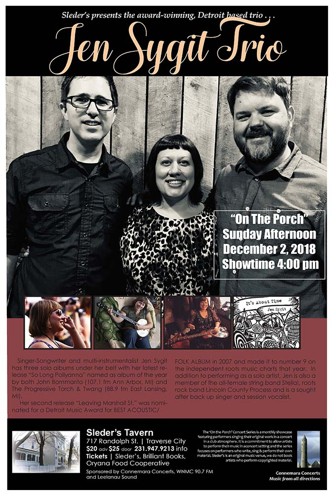Jen Sygit Trio at Sleder's Dec. 2 at 4 pm