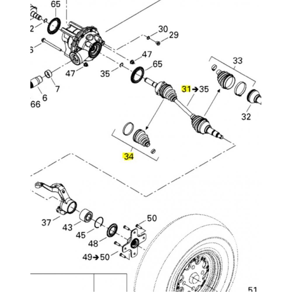 WE271175 Шрус BRP Can-Am передний внутренний правый EPI