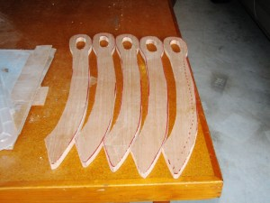 Five Dussack blanks waiting to be shaped