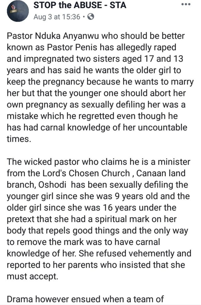 Lord's Chosen pastor allegedly impregnates underage sisters under the guise of casting out badluck from them