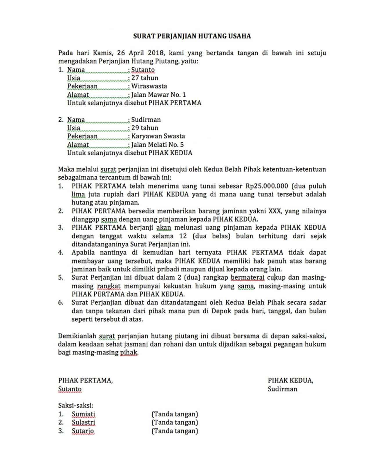 Contoh Surat Perjanjian Hutang Piutang : contoh, surat, perjanjian, hutang, piutang, Lengkap, Contoh, Membuat, Surat, Perjanjian, Hutang, Usaha, Sleekr