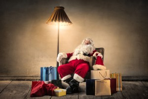 Santa getting the sleep he needs to be happy