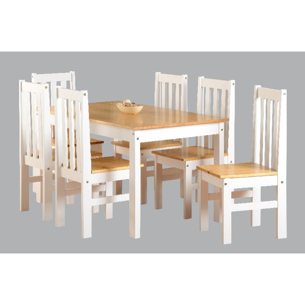 oak and white dining chairs outdoor double rocking chair ludlow 1 6 set in