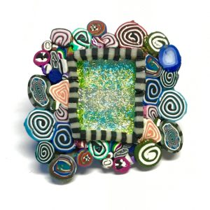 Sleepin' Dog | Polymer And Dichroic Brooch