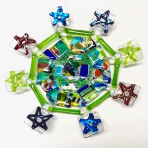 Sleepin' Dog | Fused Glass Star Plate