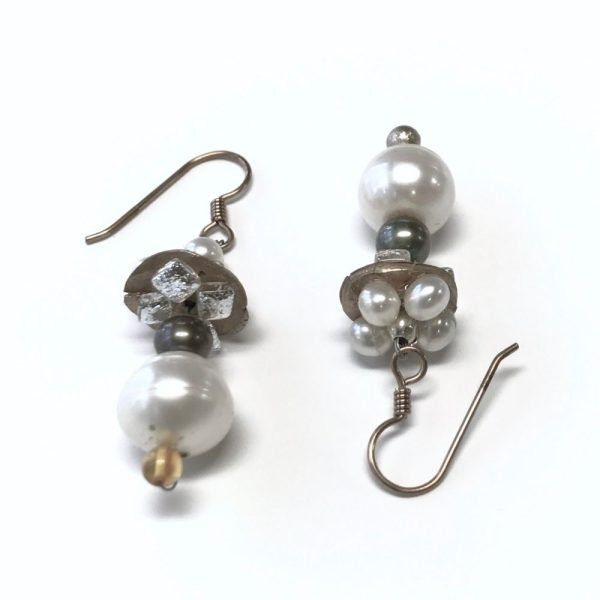 Sleepin' Dog | Fine Silver, Pearl, And Dichroic Dangle Earrings