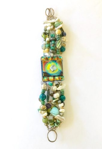Sleepin' Dog | Assorted Bead Bracelet With Dichroic Glass Centerpiece