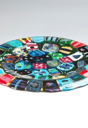 Sleepin' Dog | Fused Glass Platter With Dichroic Embellishment