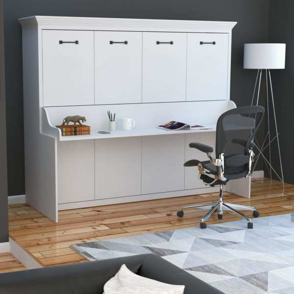 Adonis Horizontal Murphy Bed With Desk Combo White Sleepworks