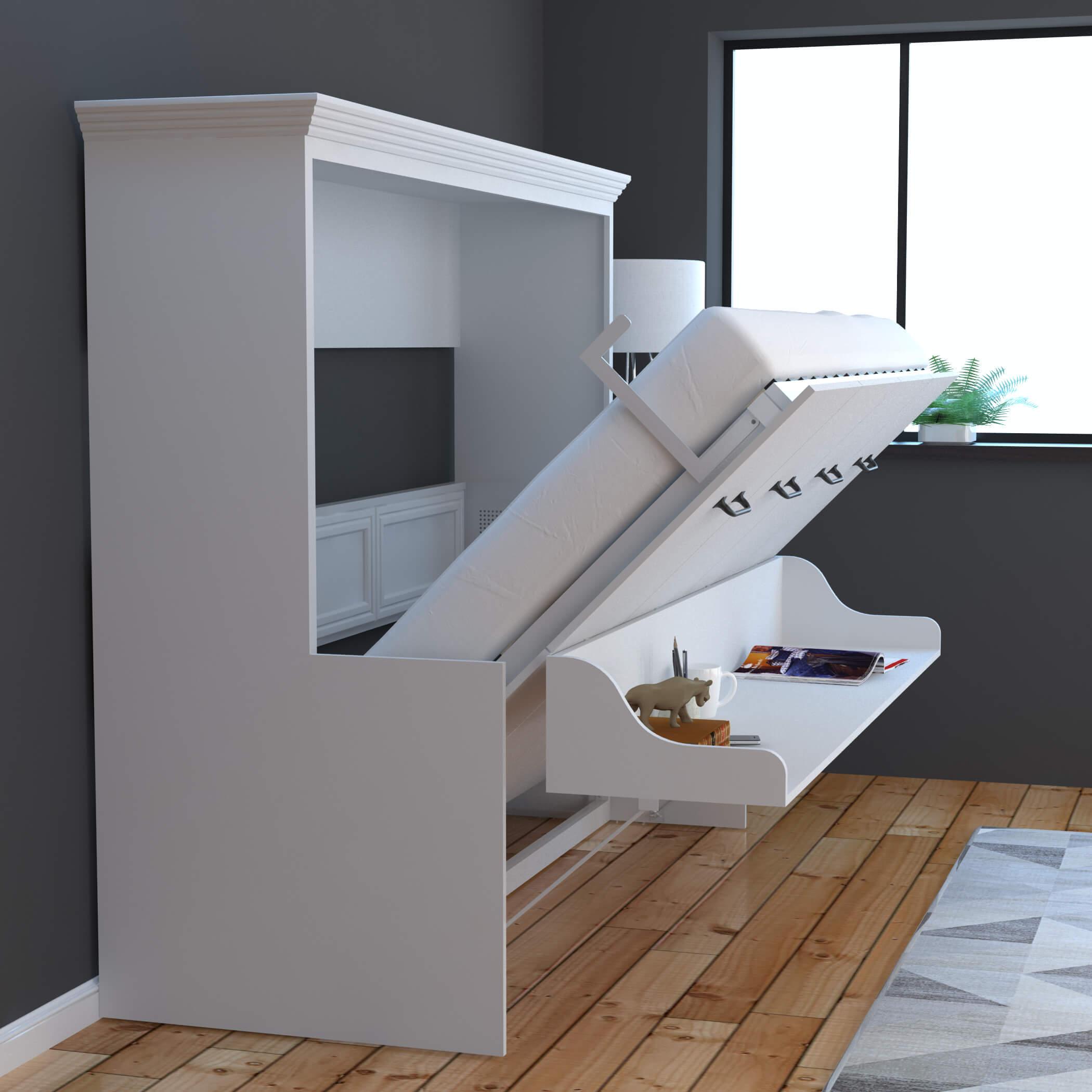 Adonis Horizontal Murphy Bed With Desk Combo White Sleepworks