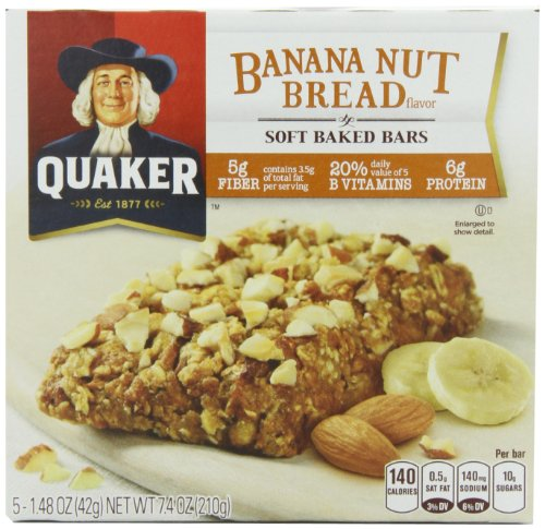 Quaker Soft Baked Cereal Bar, Banana Nut Bread, 7.4-Ounce Packages (Pack of 6)