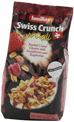 Familia Swiss Crunch Muesli, Clusters with Strawberries & Raspberries, 12-Ounce Bags (Pack of 6)